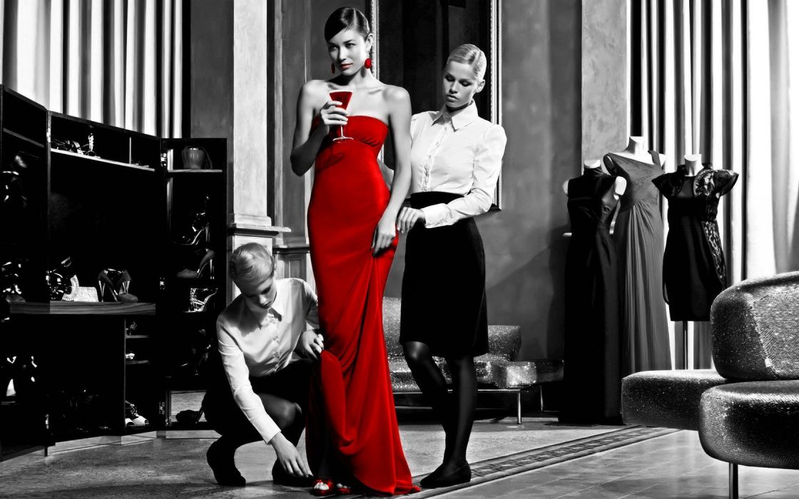women red dress selective coloring wallpaper