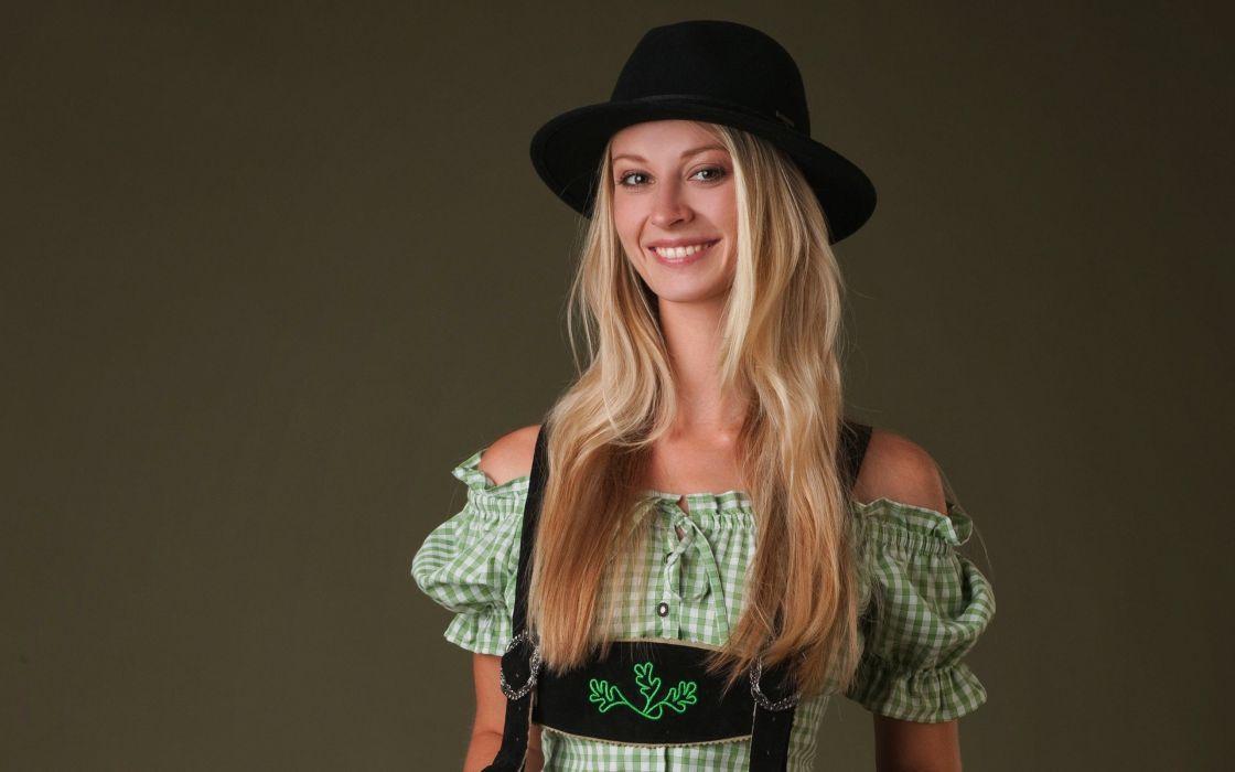 blondes boobs women models Femjoy magazine smiling hats natural boobs Carisha lederhosen long neck clothes wallpaper
