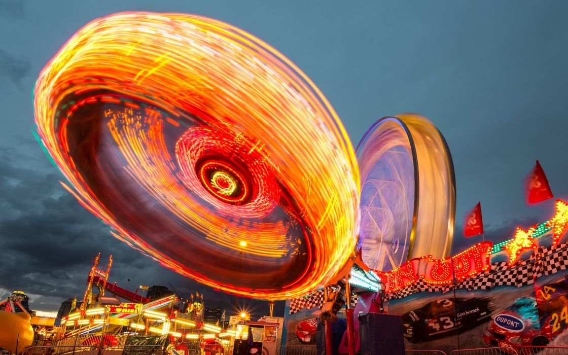 lights long exposure carnivals HDR photography wallpaper