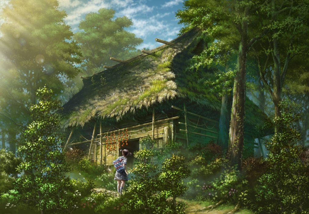scenic anime soft shading wallpaper