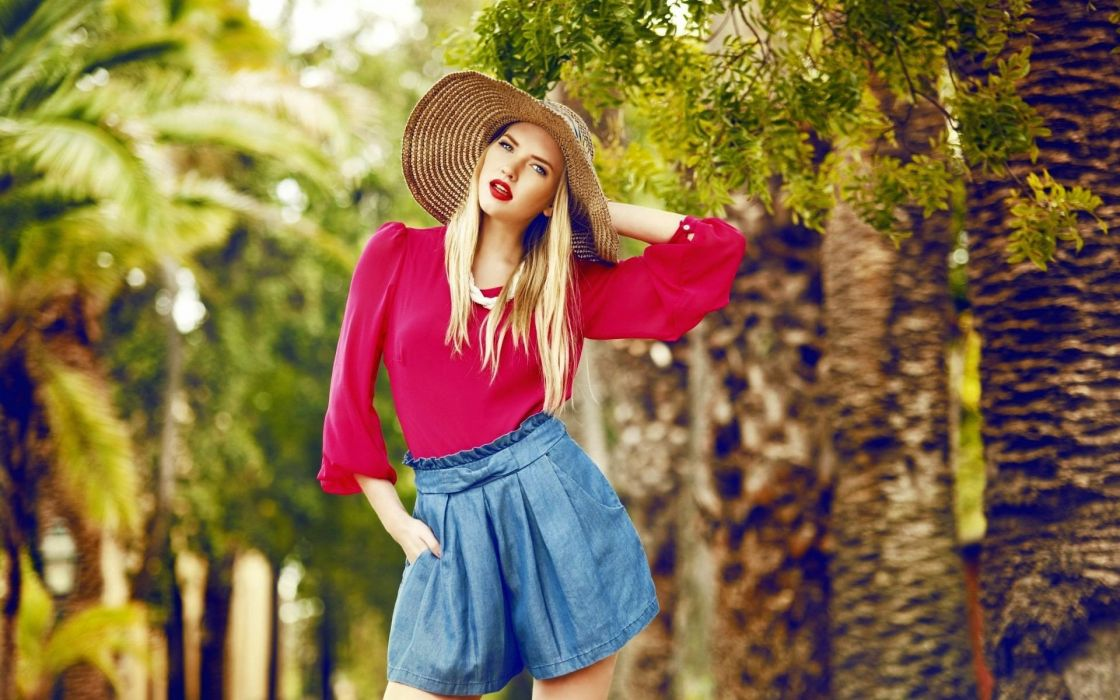 blondes women outdoors hats wallpaper