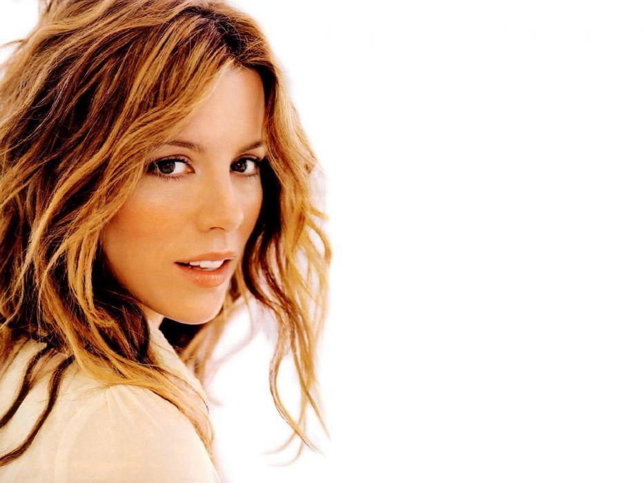 women Kate Beckinsale faces white background wallpaper