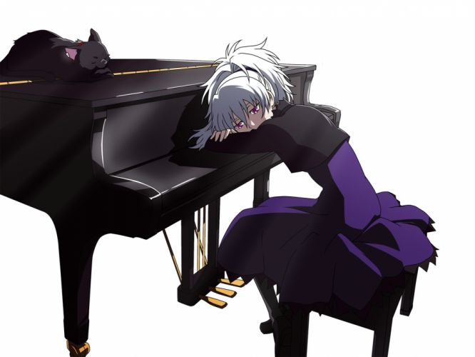 piano Darker Than Black Yin simple background white background Mao (Darker Than Black) wallpaper