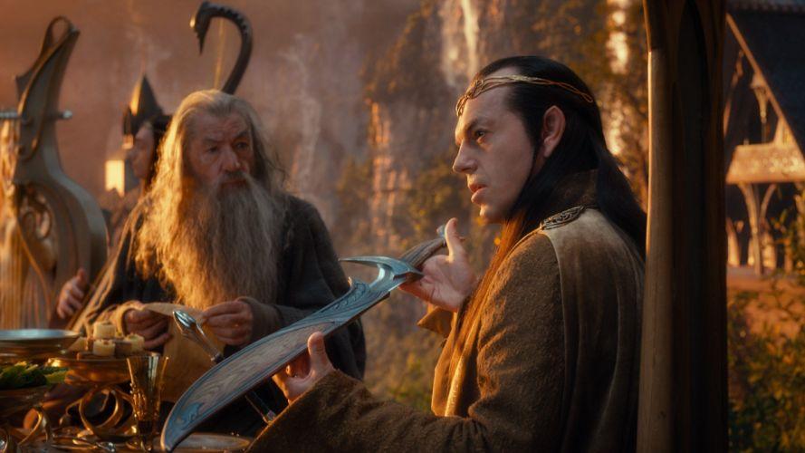movies Gandalf The Hobbit Hugo Weaving Ian Mckellen swords Elrond Rivendell wallpaper