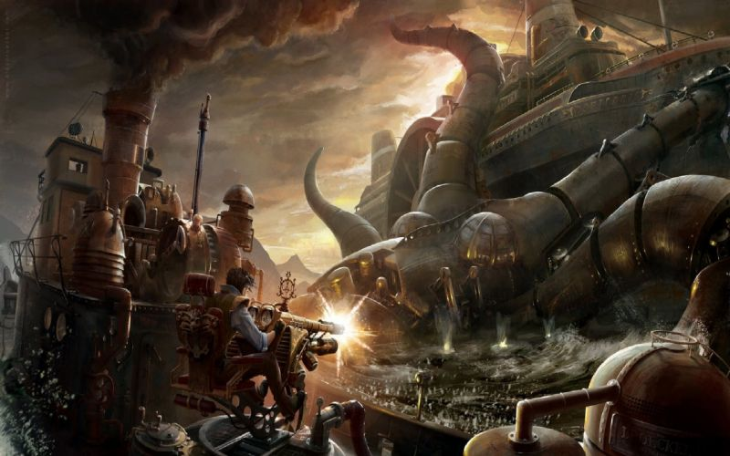 steampunk fantasy art science fiction artwork wallpaper