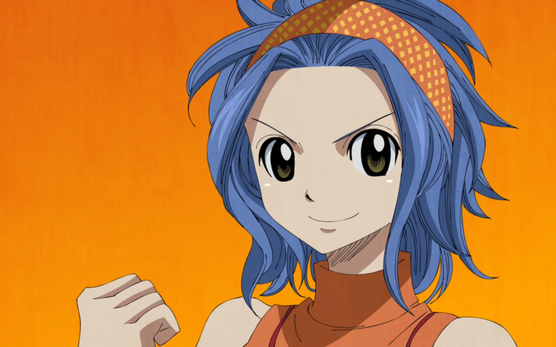 Fairy Tail smiling simple background orange background ...