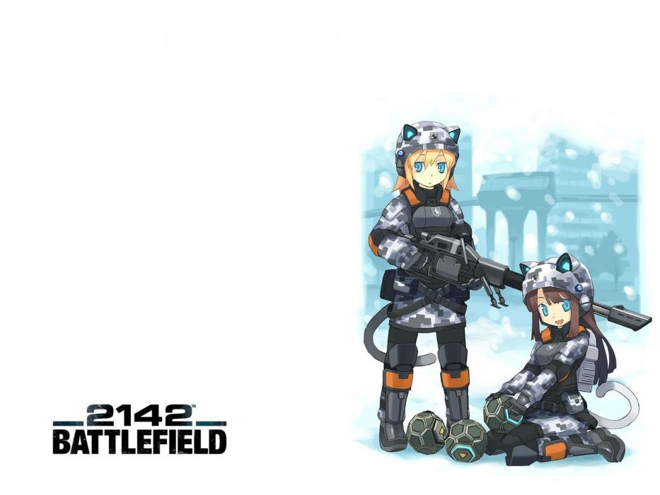 brunettes blondes video games Battlefield blue eyes weapons animal ears Battlefield 2142 simple background anime girls wallpaper