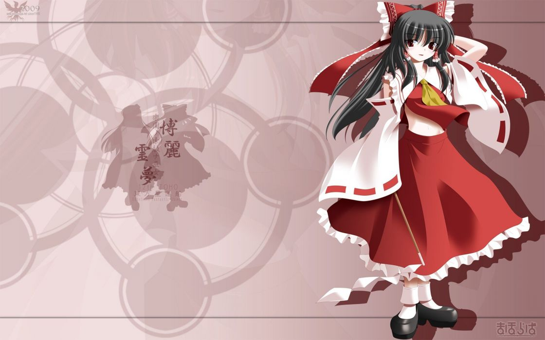 women Touhou ribbons Miko Hakurei Reimu Kochiya Sanae Japanese clothes anime girls wallpaper