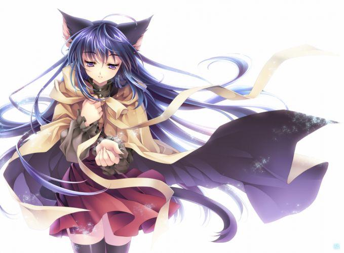 long hair nekomimi animal ears thigh highs simple background anime girls wallpaper