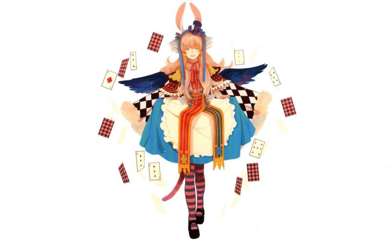 women cards dress Alice Pixiv bunny ears simple background anime girls white background striped legwear wallpaper