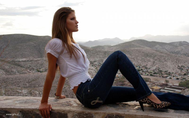 blondes women jeans high heels Mariana Bayon wallpaper