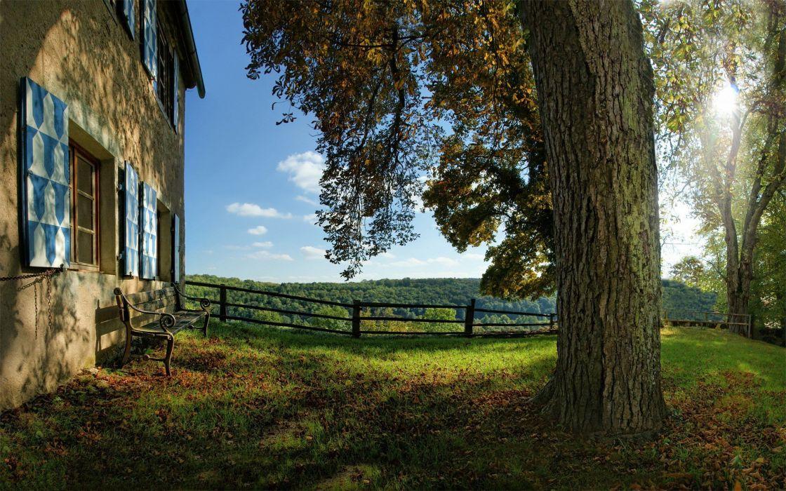 landscapes nature trees fences houses wallpaper