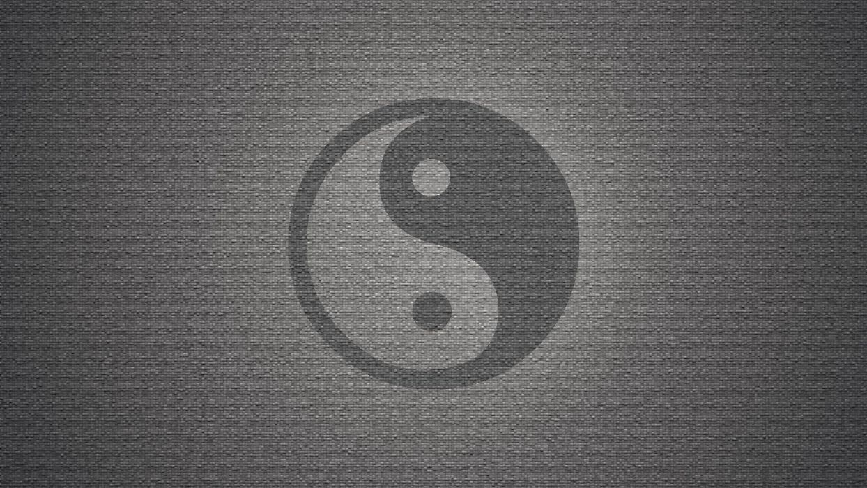 wall yin yang symbol textures grayscale backgrounds symbols wallpaper