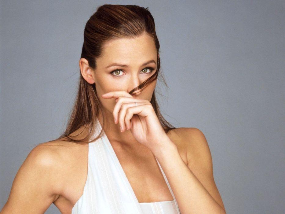 brunettes women actress models Jennifer Garner white dress wallpaper