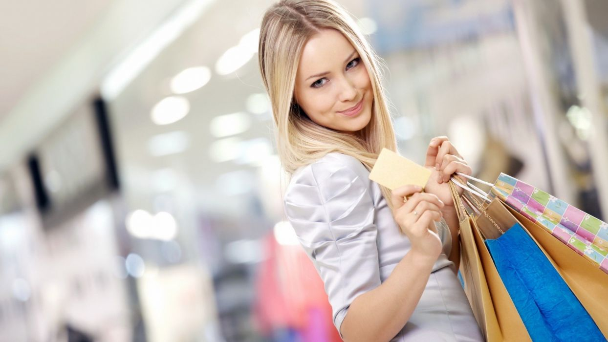 blondes women models shopping smiling depth of field bags blurred background wallpaper