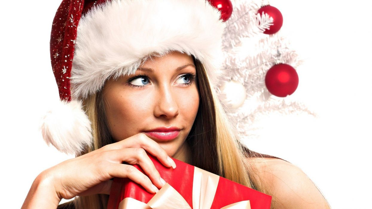 women Christmas Santa outfit wallpaper
