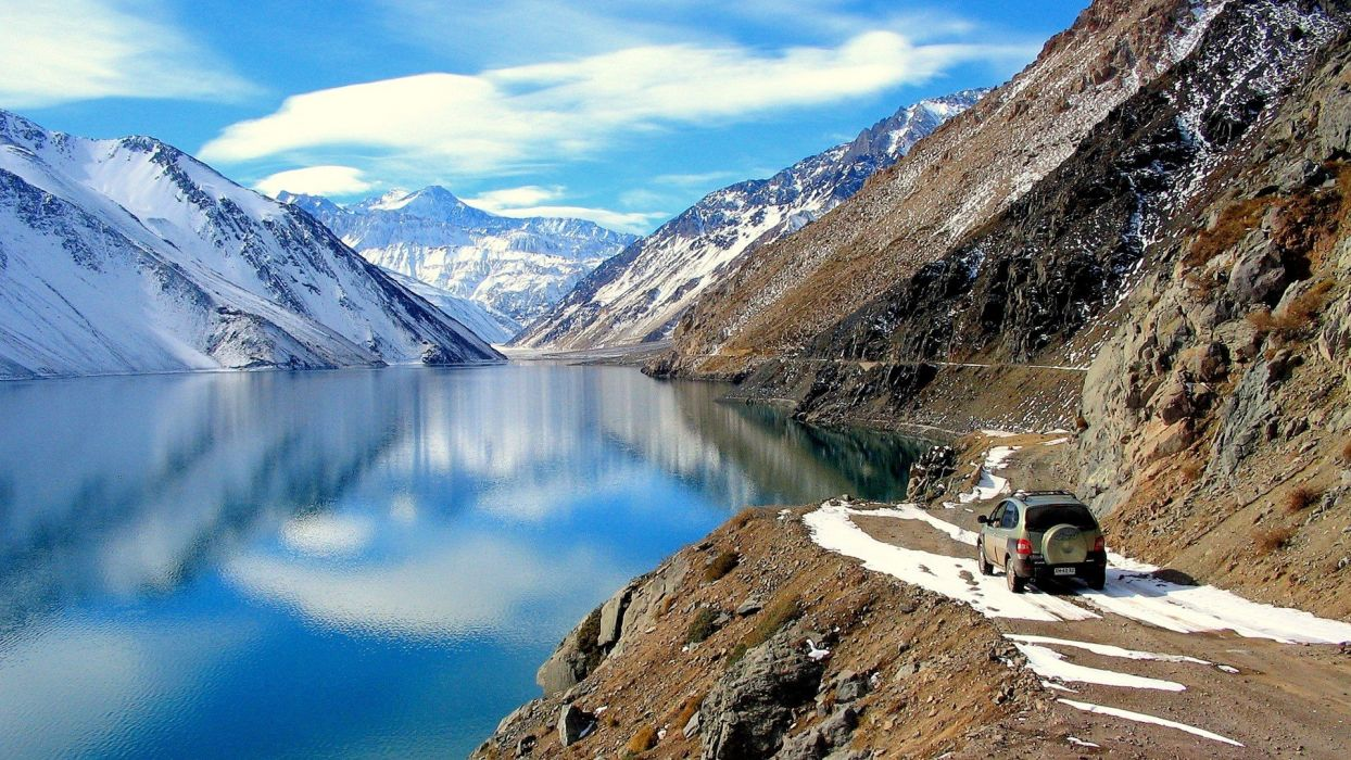 water Chile mountains clouds landscapes nature snow white cars brown calm roads lakes waterscapes Deva light blue Andes wallpaper