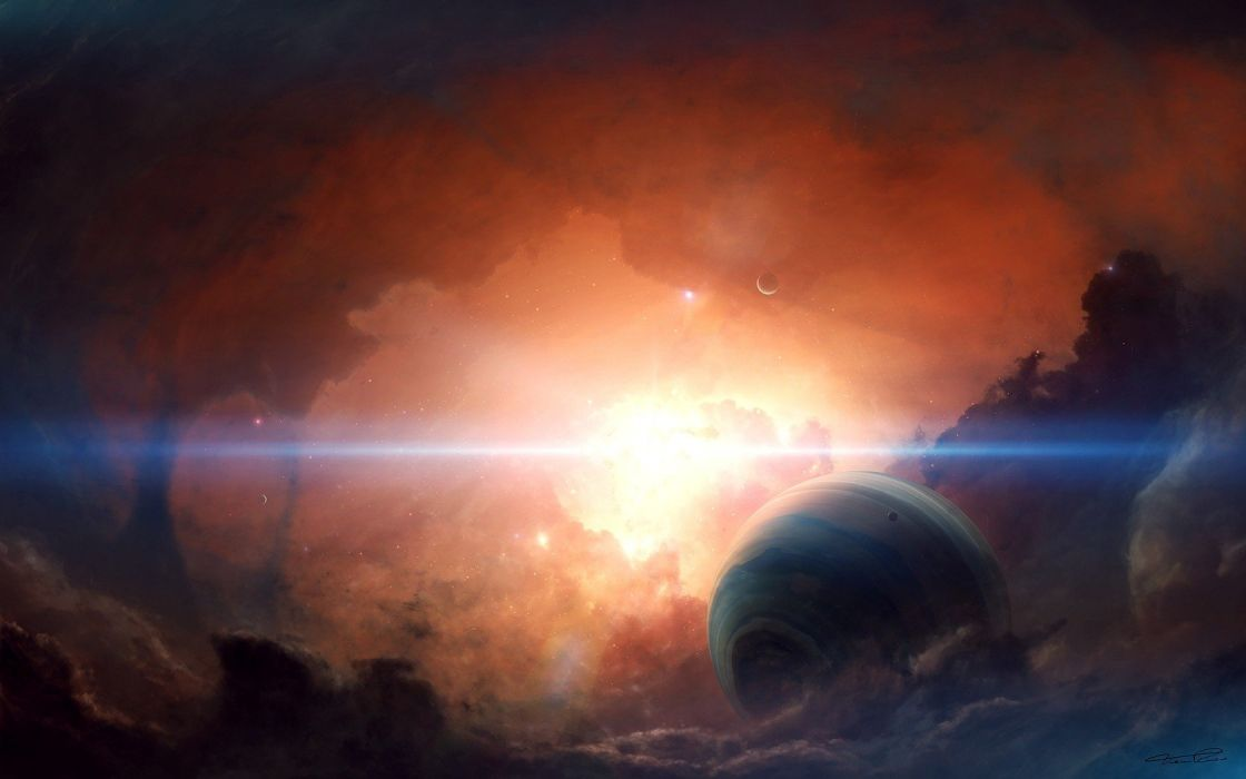outer space planets fog wallpaper
