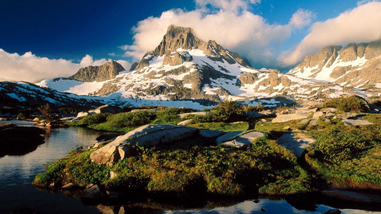 mountains peak California banner Ansel Adams wallpaper