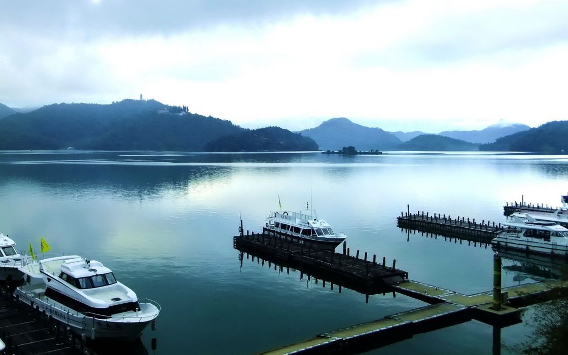 water mountains landscapes dock ships piers boats lakes skies wallpaper