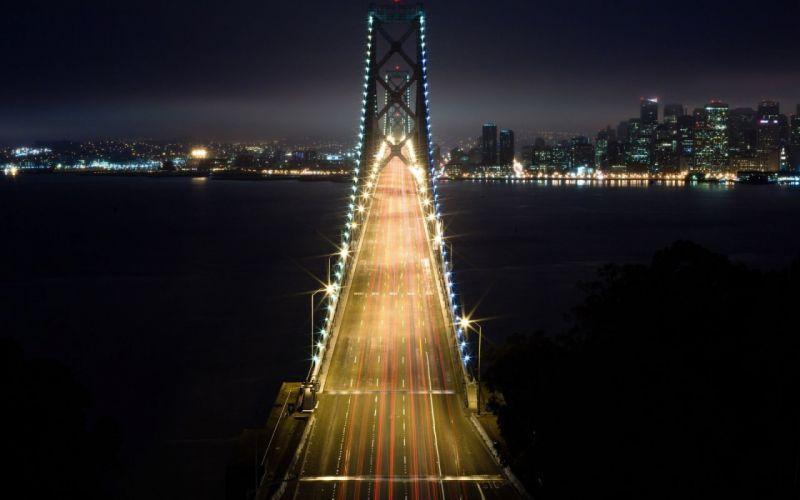 light cityscapes night bridges wallpaper