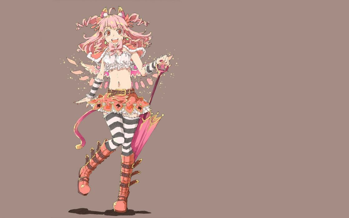 boots wings skirts long hair ribbons pink hair animal ears thigh highs curly hair open mouth umbrellas pink eyes simple background anime girls Perona brown background striped legwear wallpaper
