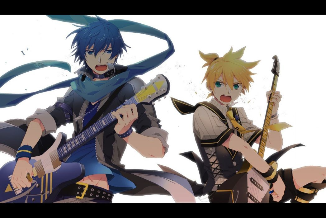 boots blondes pants Vocaloid blue eyes tie belts Kagamine Rin blue hair jackets green eyes short hair instruments guitars shirts badges collar open mouth electric guitars jewelry anime boys bracelets shorts scarfs dog tags simple background white backgrou wallpaper