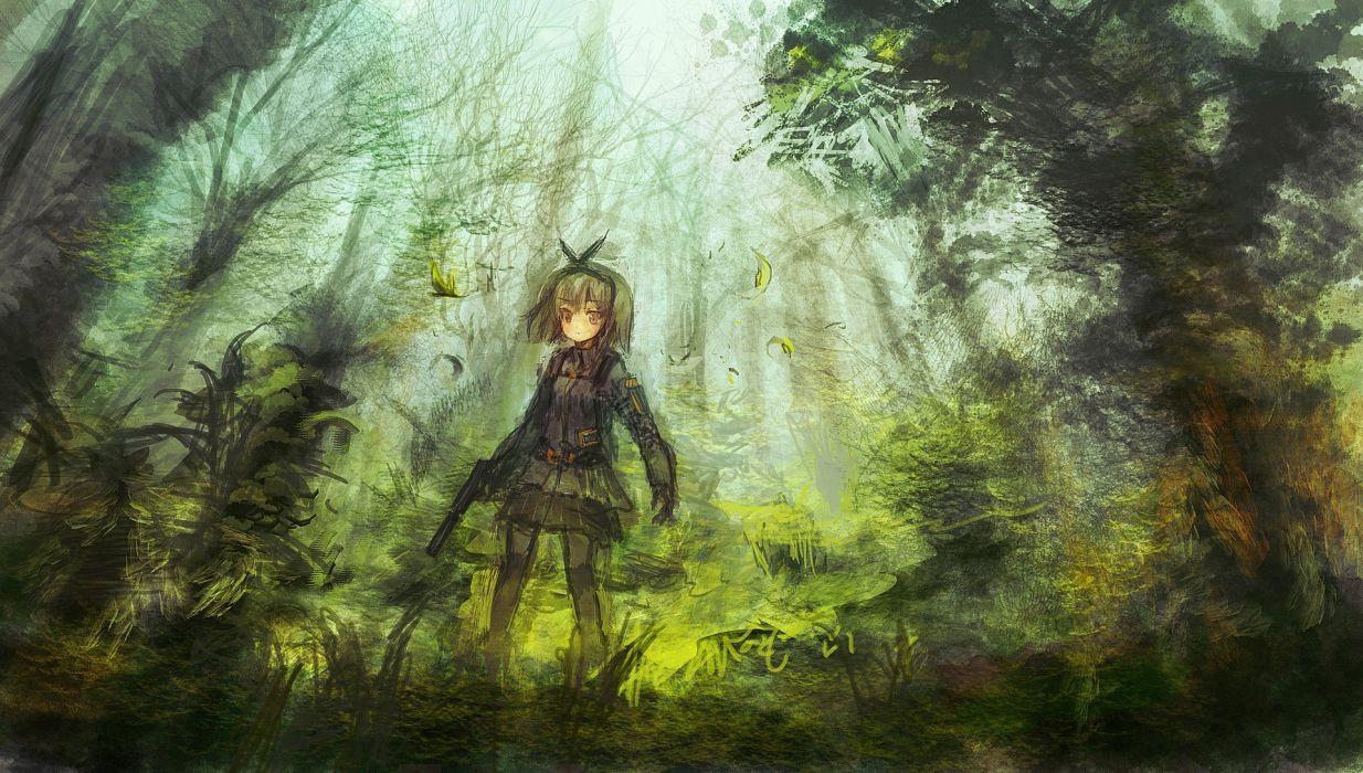 guns forests handguns anime girls suppressor original characters OP-Center wallpaper