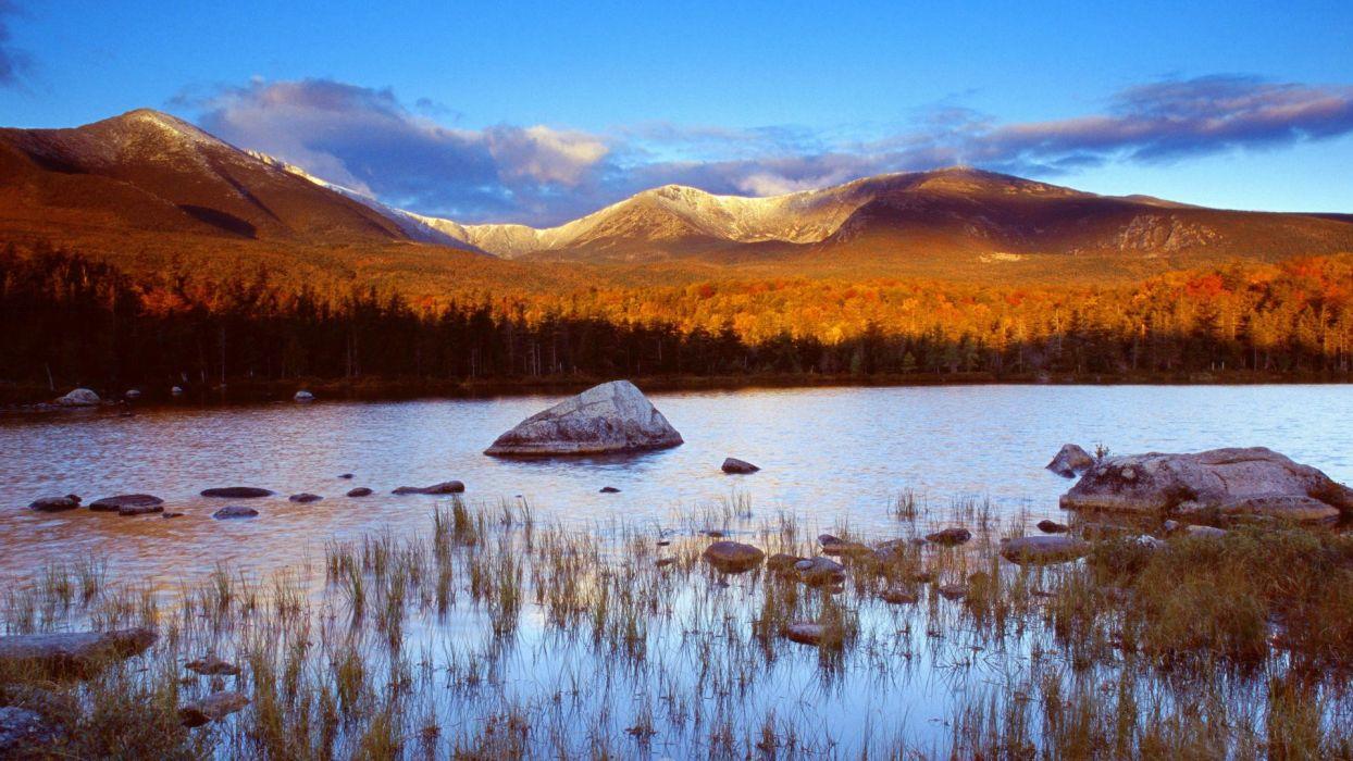 sunrise Maine ponds Sandy lakes wallpaper