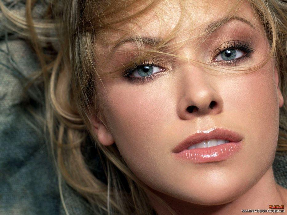 blondes women close-up blue eyes actress Kristanna Loken faces wallpaper