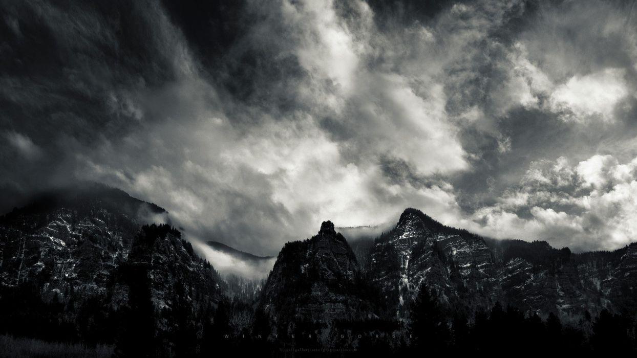 mountains clouds landscapes wallpaper