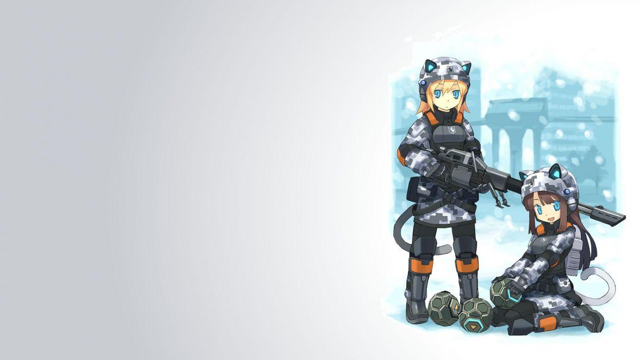 nekomimi animal ears Battlefield 2142 simple background anime girls wallpaper