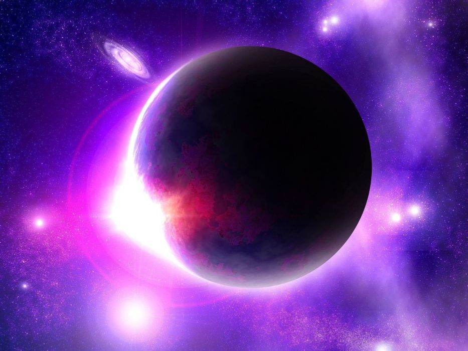 outer space stars pink galaxies planets nebulae wallpaper