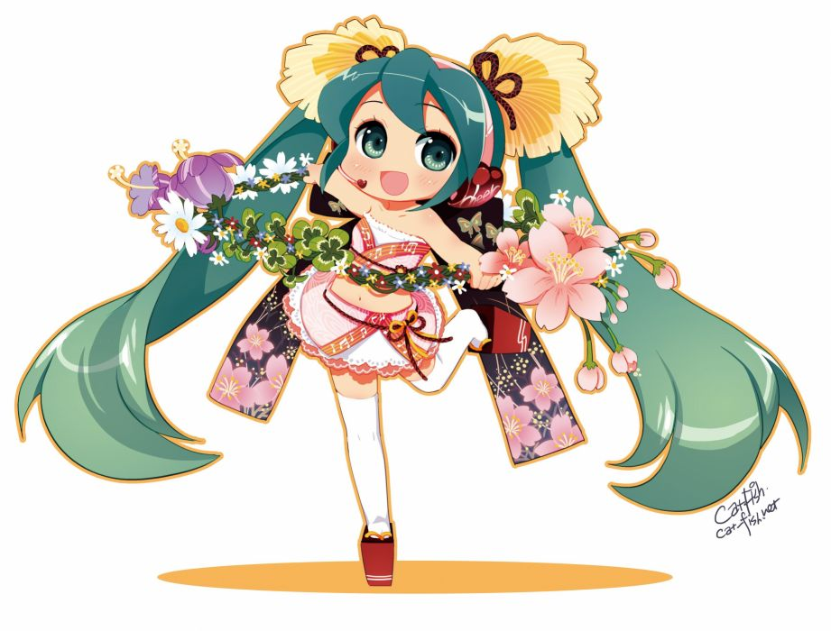 headphones Vocaloid flowers stockings Hatsune Miku skirts chibi long hair green eyes thigh highs green hair wreath twintails blush open mouth sandals Japanese clothes simple background anime girls tube top white background hair ornaments collar bone bangs wallpaper
