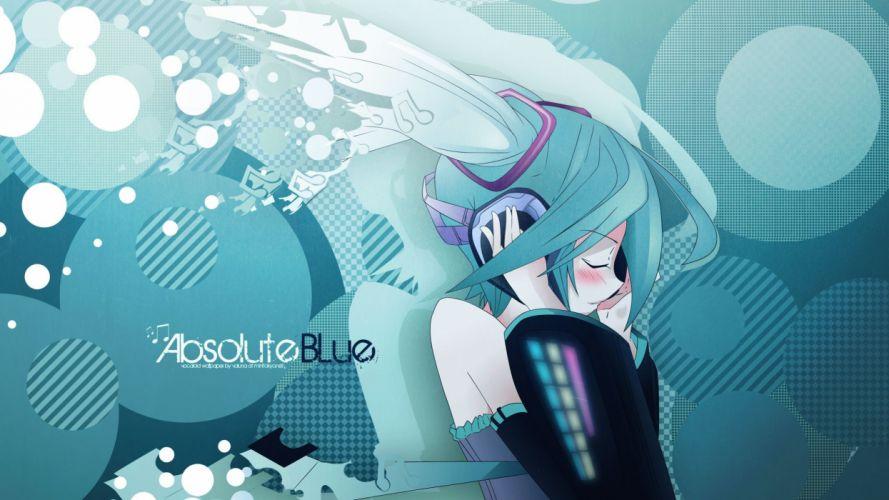 headphones music Vocaloid Hatsune Miku circles long hair green hair twintails closed eyes Aqua detached sleeves stripes wallpaper