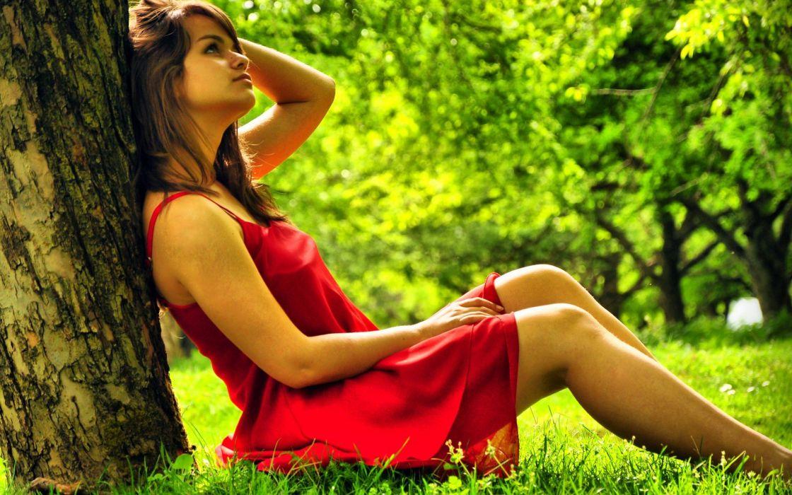 women thinking red dress wallpaper