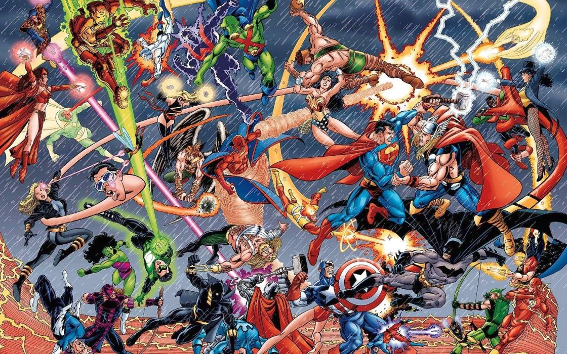 war DC Comics battles Marvel Comics wallpaper