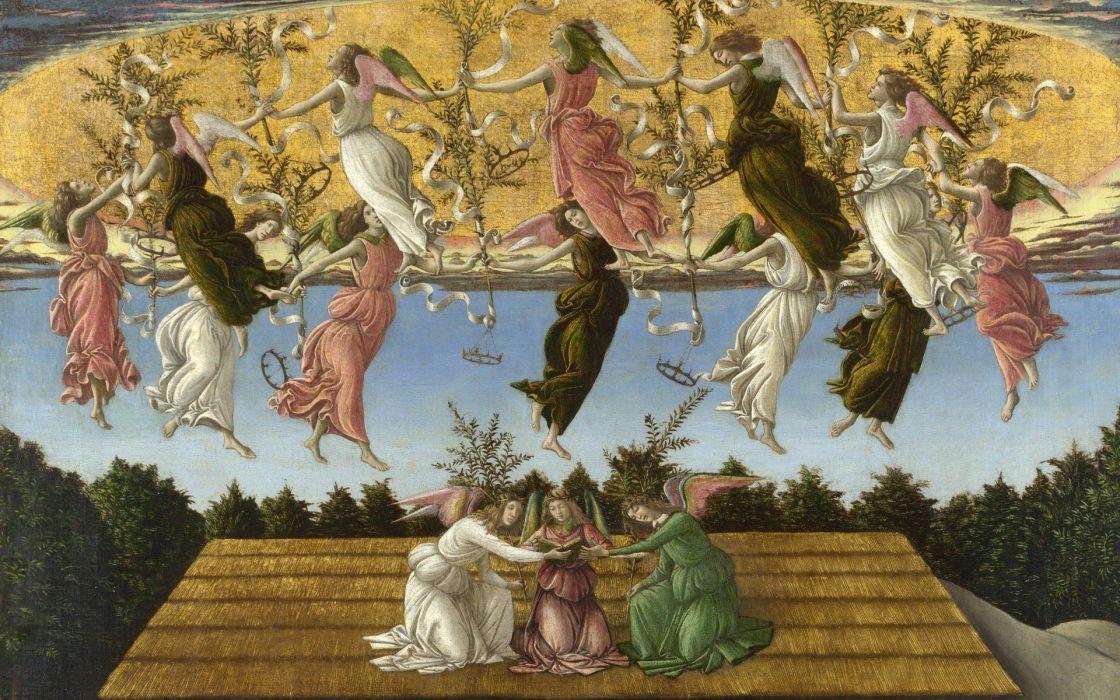 paintings Boticelli The Mystical Nativity Sandro Botticelli wallpaper