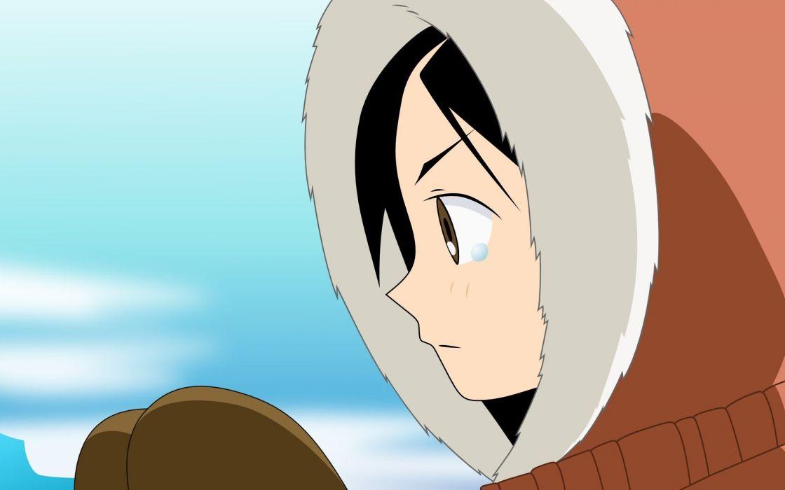 Sayonara Zetsubou Sensei winter gloves tears long hair brown eyes hoodies mittens profile anime girls faces black hair Kitsu Chiri fur clothing skies wallpaper