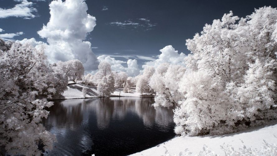 ice landscapes nature forests lakes rivers wallpaper