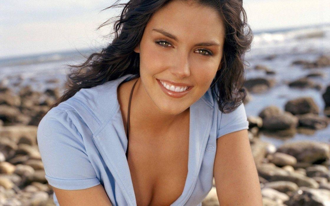 brunettes women bikini green eyes smiling Taylor Cole downblouse beaches wallpaper