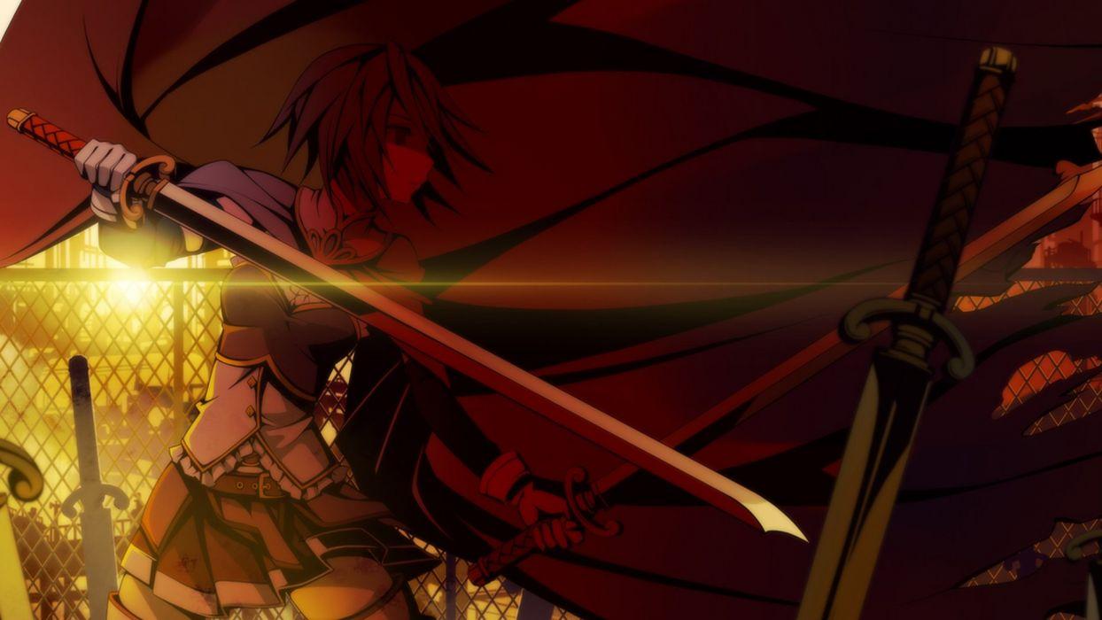 weapons blade short hair Mahou Shoujo Madoka Magica Miki Sayaka anime capes anime girls swords wallpaper