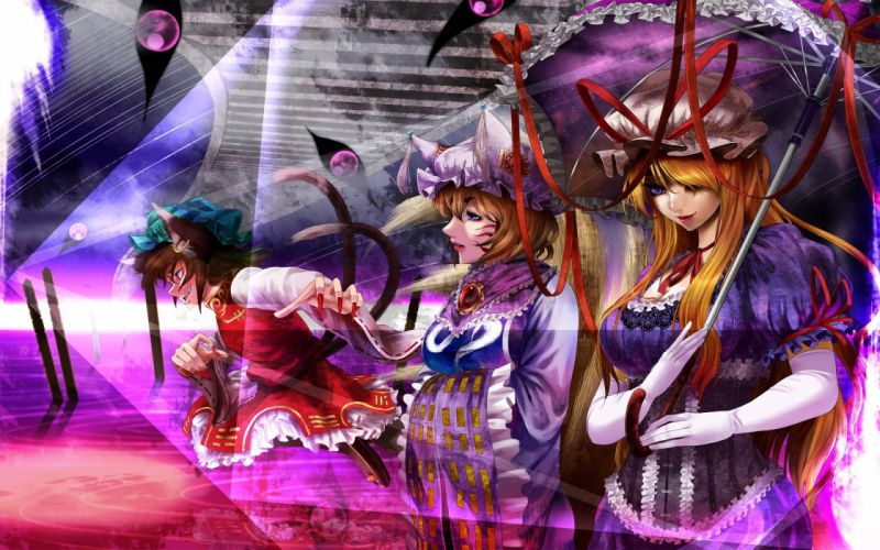 brunettes blondes tails Touhou gloves dress blue eyes lips long hair ribbons nekomimi animal ears short hair Yakumo Yukari long nails umbrellas purple eyes Chen Yakumo Ran hats fox girls kitsunemimi wallpaper