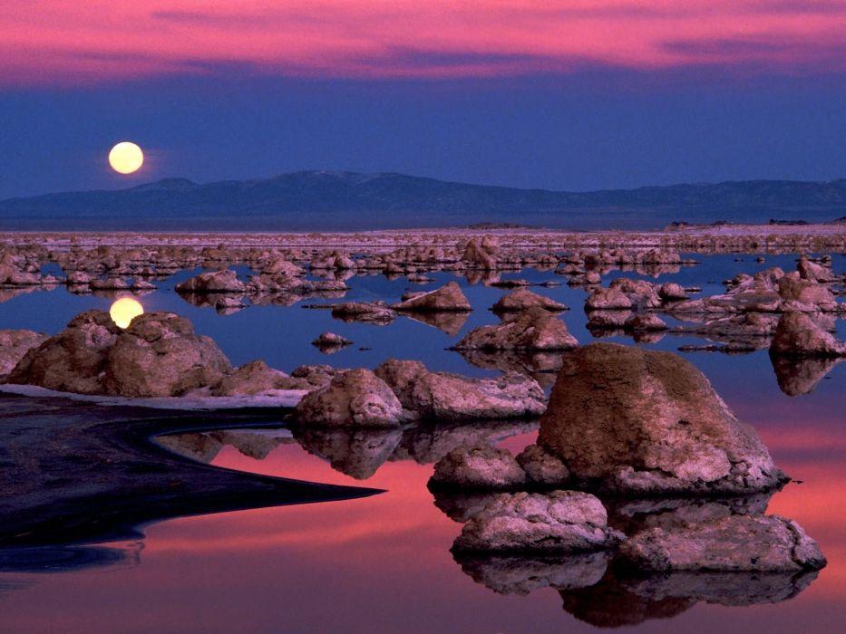rocks California lakes reflections Moonrise Mono Lake wallpaper