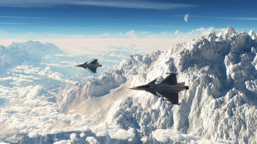 mountains aircraft Moon Rafale Dassault Rafale resimler wallpaper