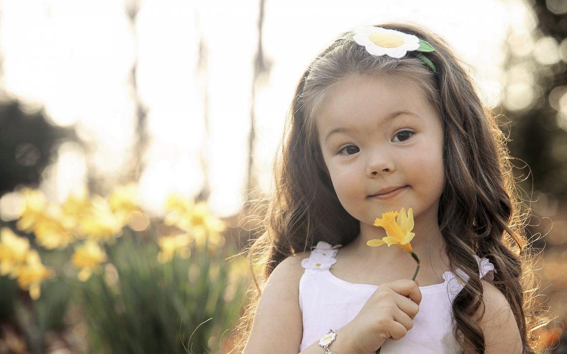 flowers little girl wallpaper