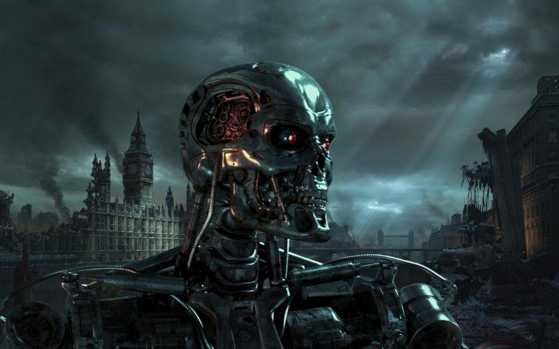skulls Terminator fantasy art wallpaper