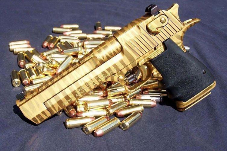 Beauty gold gun wallpaper