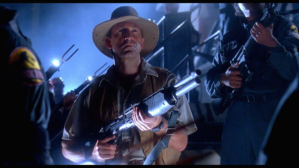 JURASSIC PARK adventure sci-fi fantasy dinosaur movie film weapon gun dark wallpaper