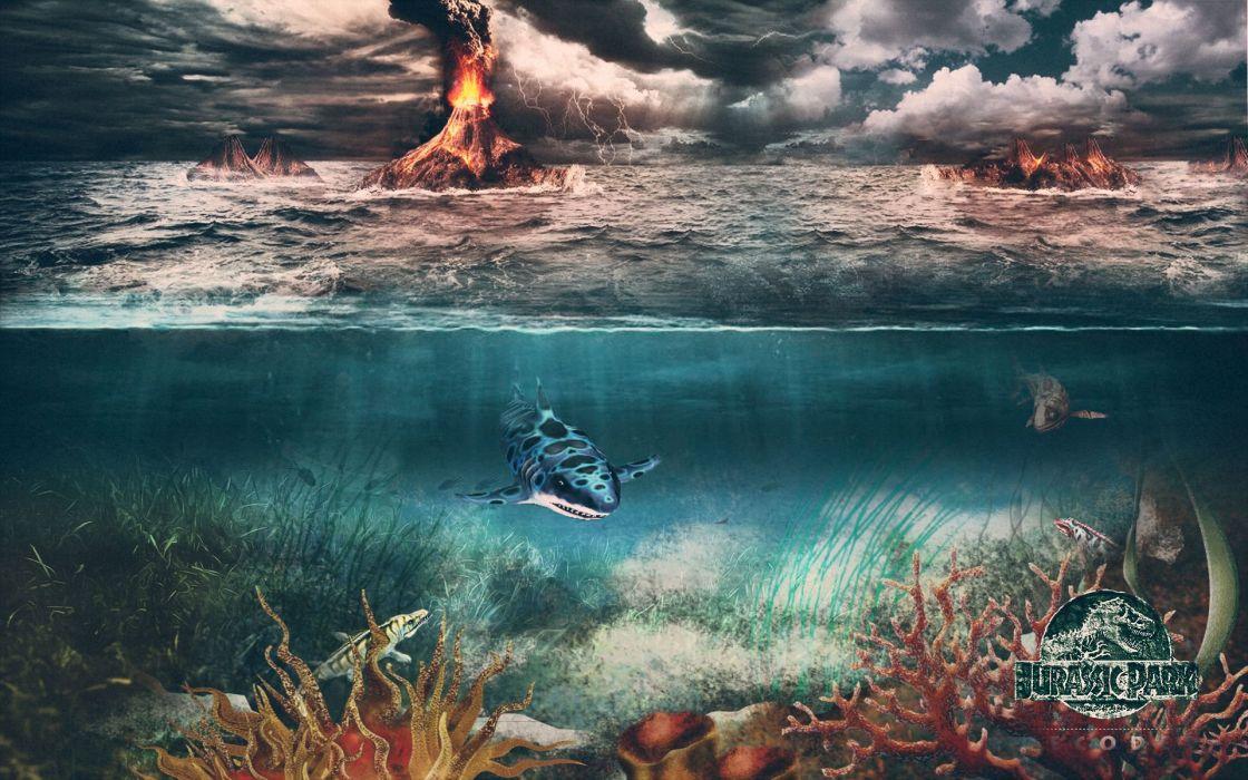 JURASSIC PARK adventure sci-fi fantasy dinosaur movie film ocean sea volcano wallpaper